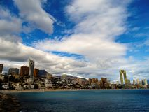 Benidorm seascape, shore, Costa Blanca Royalty Free Stock Images
