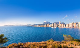 Benidorm skyline Levante beach in blue sea Stock Photos