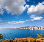 Benidorm skyline Levante beach in blue sea Royalty Free Stock Images