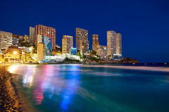 Benidorm skyline at sunset beach in Alicante Royalty Free Stock Photo