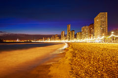 Benidorm skyline at sunset beach in Alicante Royalty Free Stock Photography
