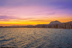 Benidorm skyline at sunset beach in Alicante Stock Photography