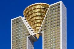 Benidorm, Spagna, il 16 febbraio 2018: Più alta costruzione del grattacielo di Intempo a Benidorm, Spagna Fotografia Stock