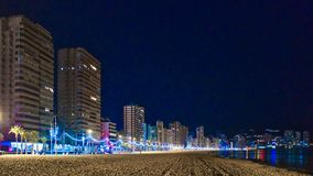 Benidorm, Spain - Dec 25 2018 The beach on Christmas day in Benidorm stock images