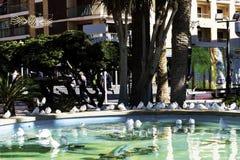Benidorm, Spain- November 01, 2018: Bird in the city. Closeup of white doves in a city fountain in the public garden of the city stock image