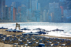 Benidorm sunrise with hammocks and parasol Royalty Free Stock Images
