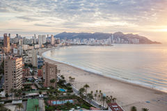 Benidorm on sunrise, Spain Stock Photo