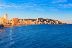 Benidorm sunset Alicante playa de Levante beach Stock Images
