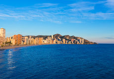 Benidorm sunset Alicante playa de Levante beach Stock Photography