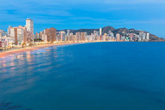 Benidorm sunset Alicante playa de Levante beach Stock Photos