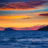 Benidorm sunset skyline view from Calpe Stock Photos