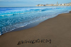 Benidorm written spell word letters in Alicante Stock Photography