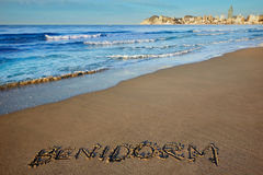 Benidorm written spell word letters in Alicante Royalty Free Stock Images
