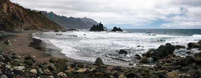 Benijo beach with big waves and black sand on the north coast of stock photography