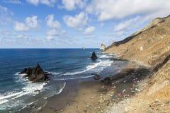 Benijo beach at the north of Tenerife island stock photography