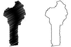 Benin översiktsvektor royaltyfri illustrationer