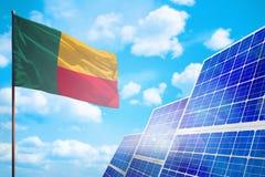 Benin alternatieve energie, zonne-energieconcept met vlag industriële illustratie - 3D symbool van strijd met het globale verwarm vector illustratie