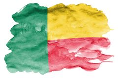 Benin de vlag wordt in vloeibare die waterverfstijl afgeschilderd op witte achtergrond wordt geïsoleerd vector illustratie
