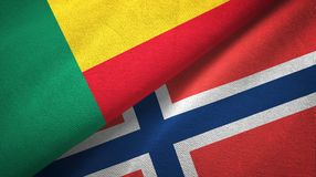 Benin en Noorwegen twee vlaggen textieldoek, stoffentextuur royalty-vrije illustratie