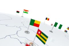Benin flag. Country flag with chrome flagpole on the world map with neighbors countries borders. 3d illustration rendering flag stock illustration