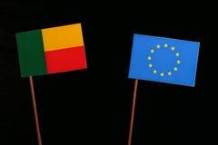 Benin flag with European Union EU flag isolated on black. Background Royalty Free Stock Photography