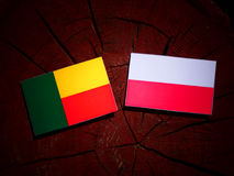 Benin flag with Polish flag on a tree stump isolated. Benin flag with Polish flag on a tree stump stock illustration
