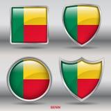 Benin flaga w 4 kształtach inkasowych z ścinek ścieżką Zdjęcia Stock