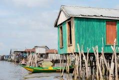 Benin lake Nokoué lifestyle African villager royalty free stock photos