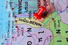 Benin map. Macro shot of benin map with push pin royalty free stock photo