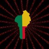 Benin mapy flaga na czerwonej hex kodu wybuchu ilustraci Zdjęcie Stock