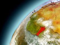 Benin from orbit of model Earth Royalty Free Stock Image