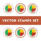 Beninese flag rubber stamps set. Royalty Free Stock Photography