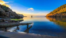 Benirras strandvinter Ibiza Royaltyfria Bilder