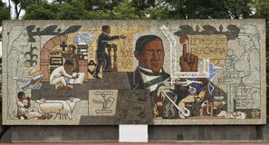 Benito Juarez. Mural of Benito Juarez show different stages of his life Stock Photography