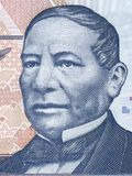 Benito Juarez portrait. From Mexican money Royalty Free Stock Images