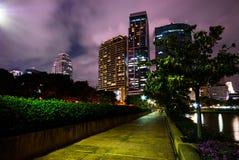 Benjakiti公园在晚上,曼谷 免版税库存图片