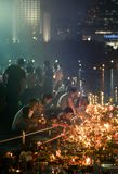 Benjakiti Park, Bangkok, Thailand - NOV 14,2016: Thai People enjoy Loy Krathong Festival, Thai traditional to pay respect to Goddr stock images