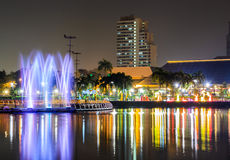 Benjakiti Park at Night in Bangkok, Thailand Stock Photo