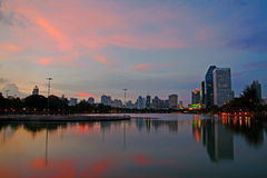 Benjakitti park at twilight in Bangkok Stock Photos