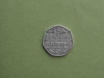 Benjamin Britten 50p mynt i London Arkivfoton