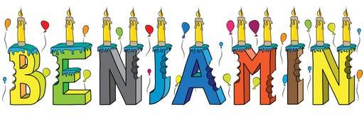 Benjamin de mannelijke cake van de voornaam gebeten kleurrijke 3d van letters voorziende verjaardag met kaarsen en ballons royalty-vrije illustratie