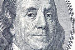 Benjamin Franklin. Close-up of Benjamin Franklin on the 100 dollar bill Stock Photography