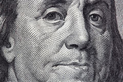 Benjamin Franklin. Portrait of Benjamin Franklin from one hundred dollar bill stock photos
