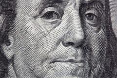 Benjamin Franklin. Portrait of Benjamin Franklin from one hundred dollar bill Stock Photos