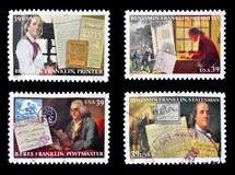 Benjamin Franklin. Collection stamps printed in USA shows Benjamin Franklin Stock Images