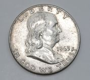 1963 Benjamin Franklin American Half Dollar Royalty Free Stock Photos