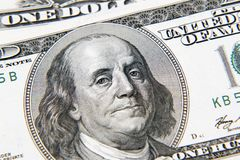 Benjamin Franklin on banknote. Benjamin Franklin on one hundred dollar banknote closeup Stock Photography