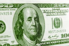 Benjamin Franklin. On one hundred dollar banknote closeup Royalty Free Stock Image