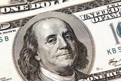 Benjamin Franklin. On one hundred dollar banknote closeup stock images