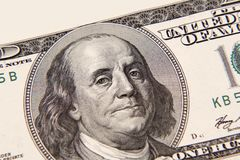 Benjamin Franklin. On one hundred dollar banknote closeup Royalty Free Stock Photos